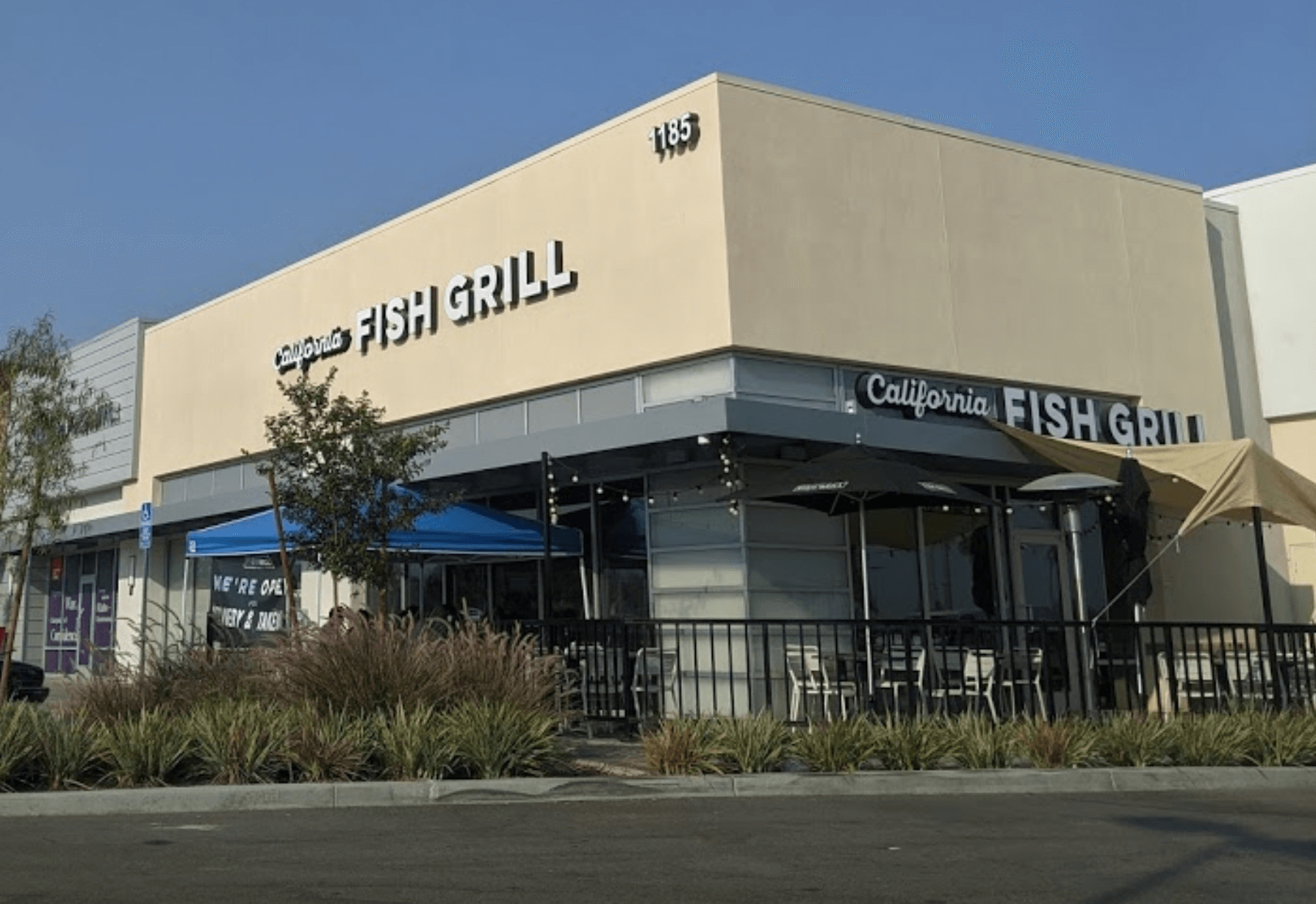 California Fish Grill in Rialto California Renaissance Marketplace Architectural Metal Canopies by BlackCoffee Sign Fabricators San Bernardino Los Angeles Front2