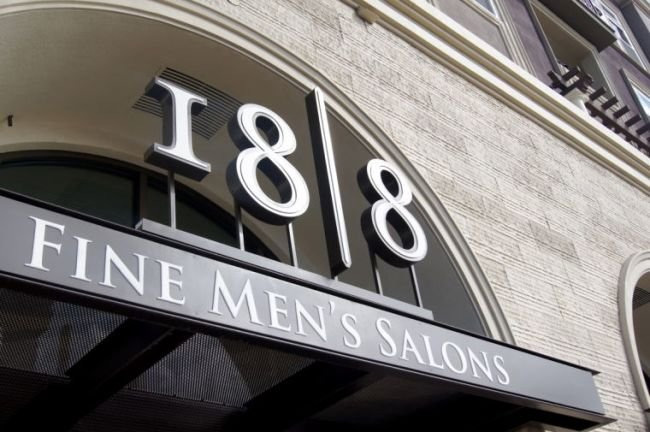 18|8 Fine Men's Salons Exterior Retail Channel Letter on Railway by Riverside and San Bernardino County Sign Company. BlackCoffee Sign Fabricators Southern California